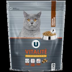 Croquettes premium pour chat vitalité au saumon et au riz U, paquet de450g