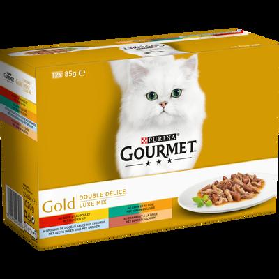 Aliment pour chat adulte Double Délice 4 variétés GOURMET Gold,boîtes12x85g