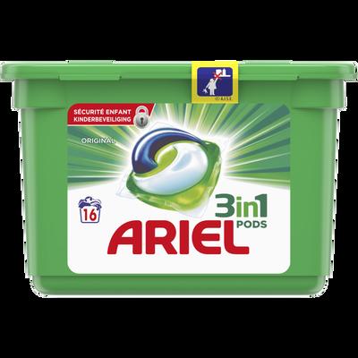 Lessive original pods ARIEL, 16 doses soit 432g