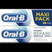 Oral B Dentifrice Blancheur Répare Gencives Et Émail Oral B, 2 Tubes De 75ml