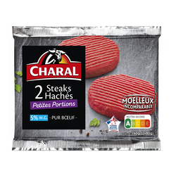 Steack haché mini, 5% MAT.GR, CHARAL, France, 2 pièces, 160g