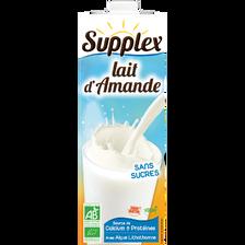 Lait d'amande liquide sans gluten sans lait sans sucre sans sel SUPPLEX, brique de 1 litre