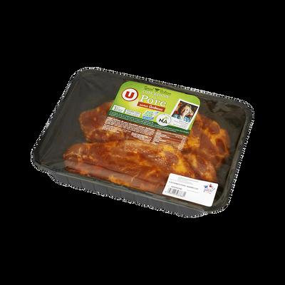 Côte de porc échine barbecue, U, France, 4 pièces, barquette 700g