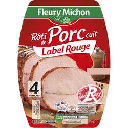 Rôti de porc supérieur cuit label rouge FLEURY MICHON 4 tranches 160g