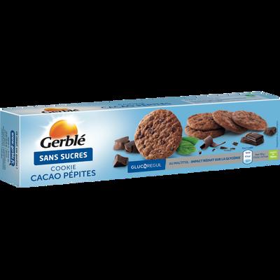 Cookies cacao aux pépites de chocolat sans sucre ajouté GERBLE, 130g