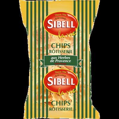Chips rôtisserie aux herbes de Provence, SIBELL, paquet de 120g