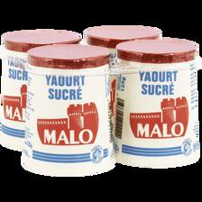 Yaourt nature sucré, MALO, pot, carton, 4x125g