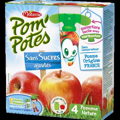 Pom'Potes sans sucre ajouté pomme nature MATERNE, 4x90g, 360g