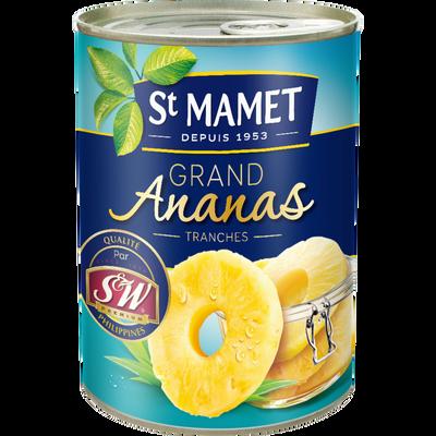 Grand ananas au sirop 10 tranches entières SAINT MAMET, boîte de 345 g