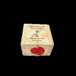Fleur de sel CROQUE AU SEL, boîte en bois de 200g
