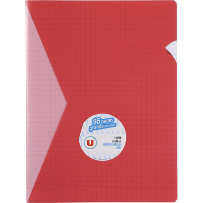 Grand cahier piqure U, grands carreaux, 24x32cm, 96 pages, rouge