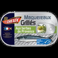 Maquereaux MSC grillés huile d'olive & herbes de provence LE TRESOR DES DIEUX, boîte de 80g