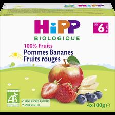 Compote infantile bio pommes bananes fruits rouges HIPP, dès 6 mois,4x100g