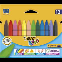 Craies de coloriage Plastidécor BIC Kids, 12 unités, couleurs assorties