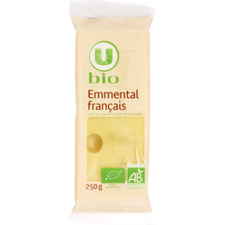 Fromage au lait cru Emmental français U BIO, 31%mg, 250g