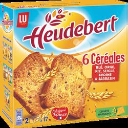 Biscottes aux 6 céréales HEUDEBERT, 34 tranches, 300g