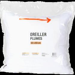 OREILLER PLUME 60X60 CM MARQUE BLANCHE