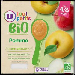 Pots dessert pomme Tout Petits Bio U, de 4 à 6 mois, 4x100g