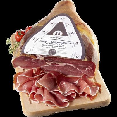 Jambon sec de montagne viande de porc Française U SAVEURS,