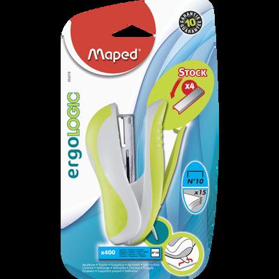 Agrafeuse Ergologic Pocket MAPED, pour agrafe n°10, 1 unité avec 400 agrafes