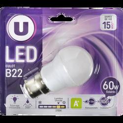 Ampoule LED mini ronde U, 60W, blanc chaud, culot B22, verre givré