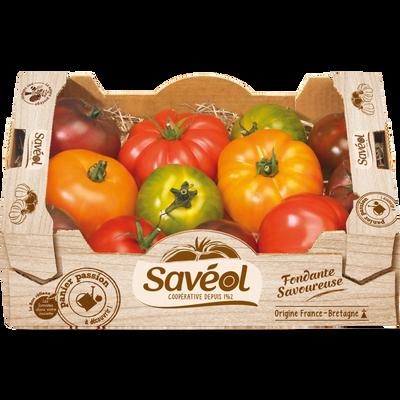 Tomate côtelée, segment Les côtelées, collection gourmande, SAVEOL, cal.57/102, cat.2, France, colis, 1,5kg