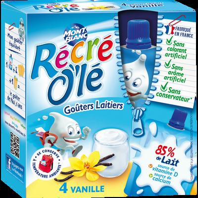 """Goûter laitier parfum vanille """"Récré Olé"""" MONT BLANC, 4x85g"""