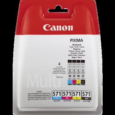 Pack 4 cartouches d'encre CANON pour imprimante, CLI-571, cyan, magenta, jaune et noir, sous blister