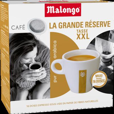 Café pur arabica La Grande Réserve xxl MALONGO, 16 dosettes, 104g