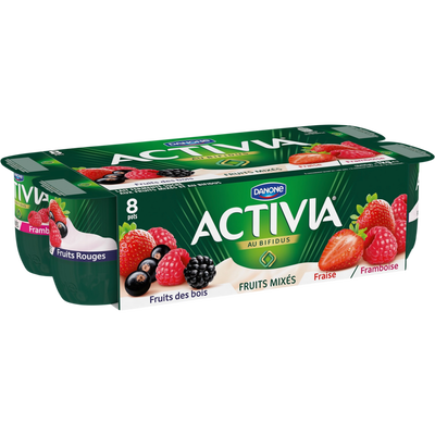 Lait fermenté sucré, aux fruits mixés au Bifidus, saveur fruits rougesACTIVIA, 8 pots de 125g