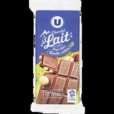 Chocolat au lait + aux noisettes U tablette 2x100g