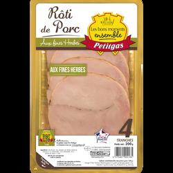 Rôti de porc cuit aux fines herbes doré au four PETITGAS, 4 tranches,200g