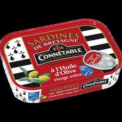 """Sardines à l'huile d'olive """"Belles de Douarnenez"""" CONNETABLE, 135g"""