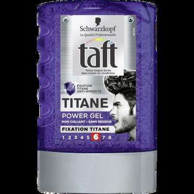 Gel coiffant Power Titane tenue extrême styling TAFT, tube de 300ml