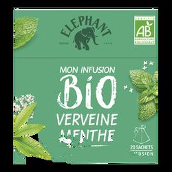 Infusion bio Verveine et Menthe ELEPHANT, 20 sachets, boîte de 26g