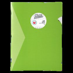 Grand cahier piqure U, petits carreaux, 24x32cm, 96 pages, vert