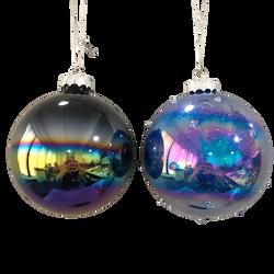 Boule de noël gland en verre 8cm - Bleu ou Mauve au choix