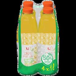 Pur jus d'orange sans pulpe U, 4 bouteilles en plastique de 1l