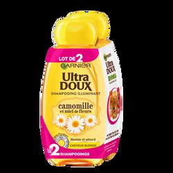 Shampoing pour cheveux blonds parfum camomille et miel ULTRA DOUX, 2 flacons de 250ml