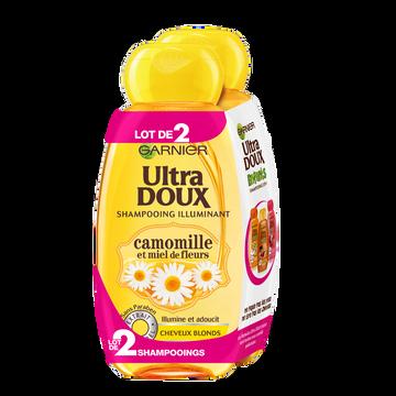 Garnier Shampoing Pour Cheveux Blonds Parfum Camomille Et Miel Ultra Doux, 2 Flacons De 250ml