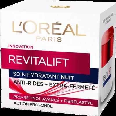Soin de nuit hydratant pro-rétinol+fibrelastyl revitalift anti-rides+extr a-fermeté DERMO EXPERTISE, pot de 50ml