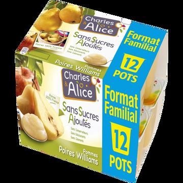 Charles & Alice Dess.de Frts Pom./poire S/sucre Aj.c&alice X12 Form.familial