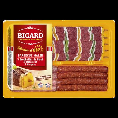 Barbecue malin (5 brochettes de boeuf, 4 chipolatas, 4 merguez), BIGARD, 915g