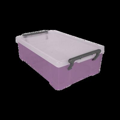 Boite de rangement, en polypropylène, 1,8l, violet translucide, idéalepour ranger les accessoires de bureau