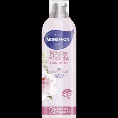 Mousse de douche toute douce parfum pivoine et freesia MONSAVON, flacon de 200ml