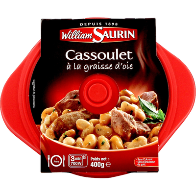 Cocottes cassoulet à la graisse d'oie WILLIAM SAURIN, barquette micro-ondable de 400g