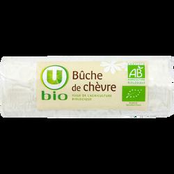 Fromage Bûche de chèvre bio au lait pasteurisé U BIO, 21% de MG, 180g