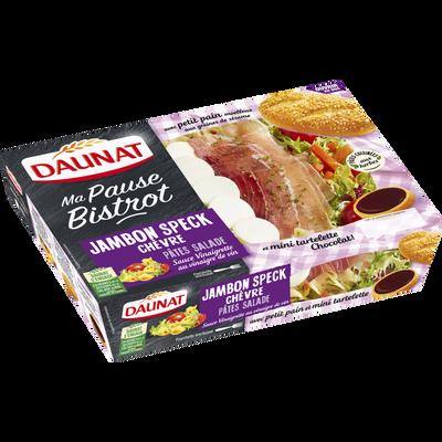 Salade ma pause bistrot jamb.cru chèvre tomates cerises pâtes salade DAUNAT, paquet de 320g