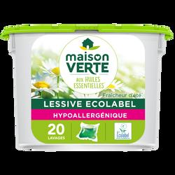 Lessive hypoallergénique fraîcheur d'été MAISON VERTE, 20 capsules, 590g