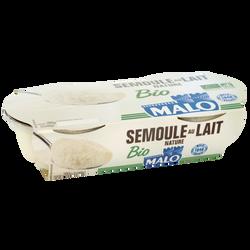 Semoule au lait nature bio MALO, 2x140g